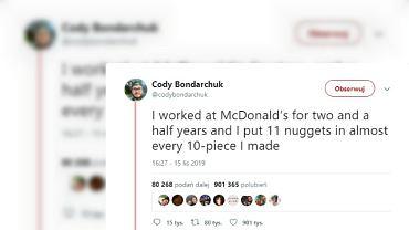 Były pracownik McDonald's zdradza, że zawsze dodawał po jednym dodatkowym nuggetsie. Internauci podzieleni.