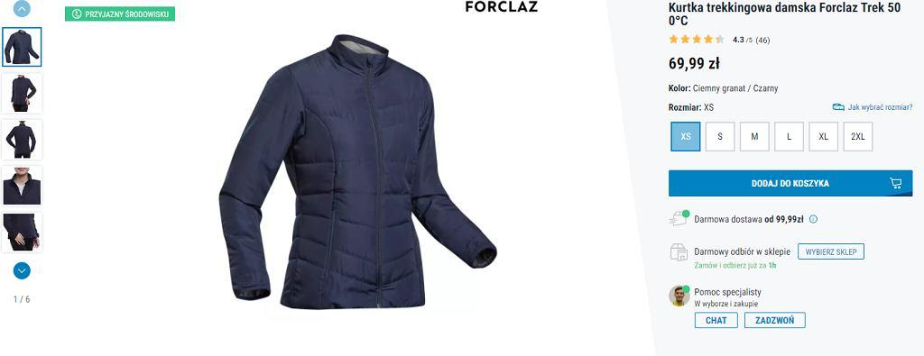 kurtka pikowana na jesień Decathlon