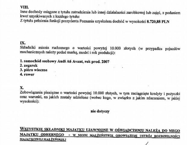 Oświadczenie majątkowe prezydenta Poznania, Jacka Jaśkowiaka