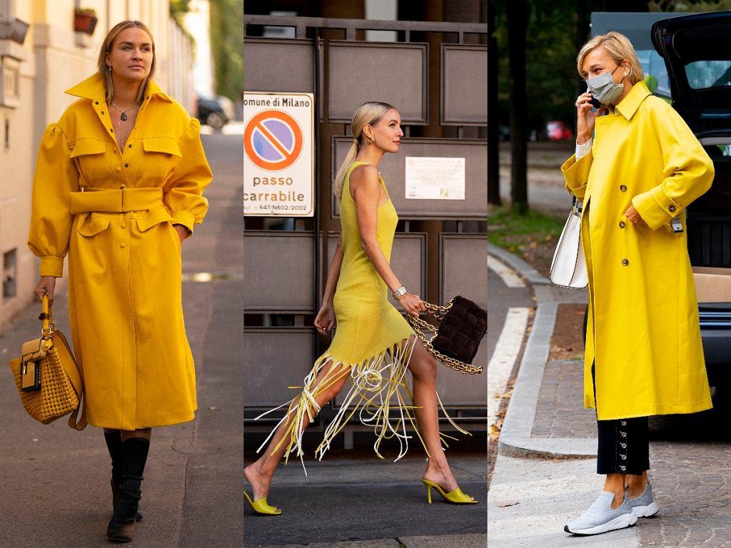 stylizacje w modnym, żółtym kolorze