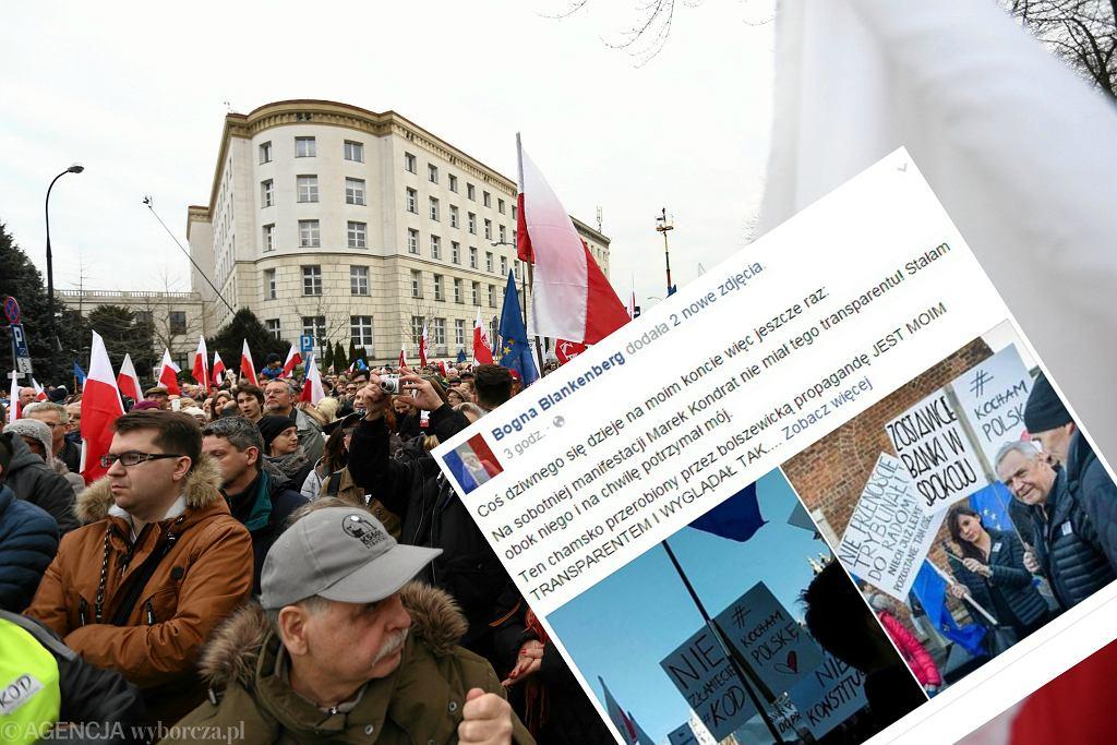 Demonstracja KOD w Warszawie i post o zdjęciu Marka Kondrata