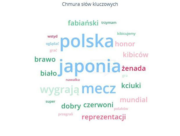 Mecz Polska - Japonia. Chmura słów kluczowych w polskiej sieci