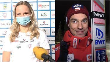 Linn Svahn podczas MŚ w Oberstdorfie (z lewej) i Piotr Żyła (z prawej) podczas zawodów PŚ w Ruce