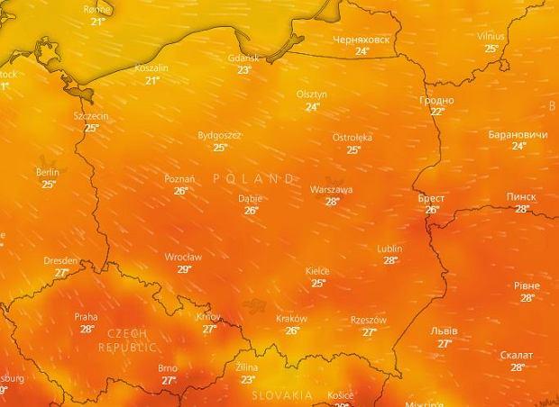 Temperatura w niedzielę
