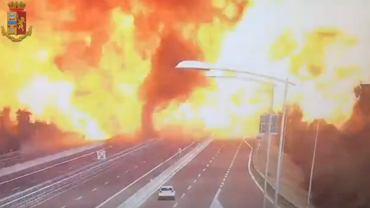 Zderzenie cysterny i wybuch na drodze w Bolonii