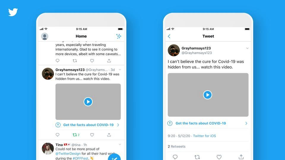 Ostrzeżenie Twittera o fałszywej informacji związanej z koronawirusem