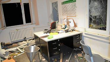 Zdemolowane po środowych zamieszkach biuro w ośrodku w Suhl