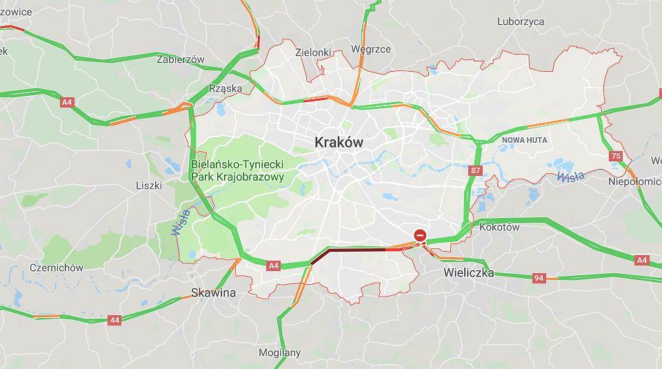 Karambol na A4. Na obwodnicy Krakowa zderzyło się pięć pojazdów