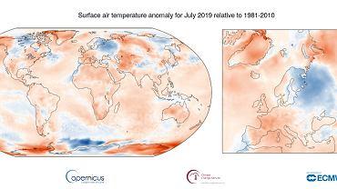 Anomalie temperatury w lipcu 2019 r. (w porównaniu ze średnią lipcową z lat 1981-2010) na świecie i w Europie