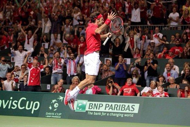 Roger Federer po zwycięstwie nad Fabio Fogninim w półfinale Pucharu Davisa, Genewa, 14.09.2014