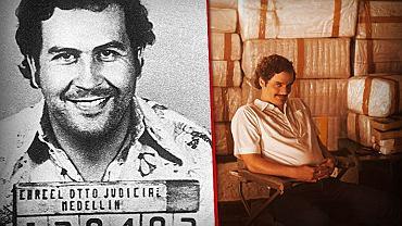 """Pablo Escobar - z lewej na zdjęciu policyjnym z początków przestępczej kariery, z prawej sportretowany przez Wagnera Mourę w """"Narcos"""""""