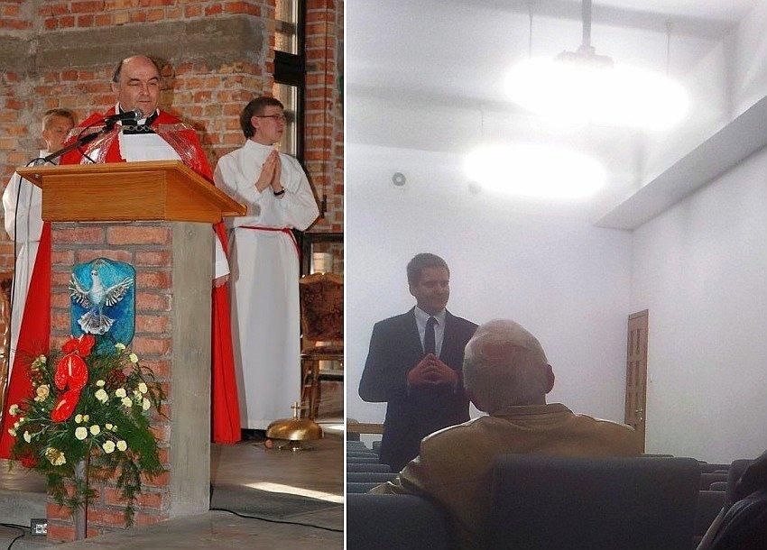 Proboszcz Adam Kalina zapraszał na spotkanie z kandydatem PiS Wojciechem Dzedzejem (z prawej), które odbyło się w kościele