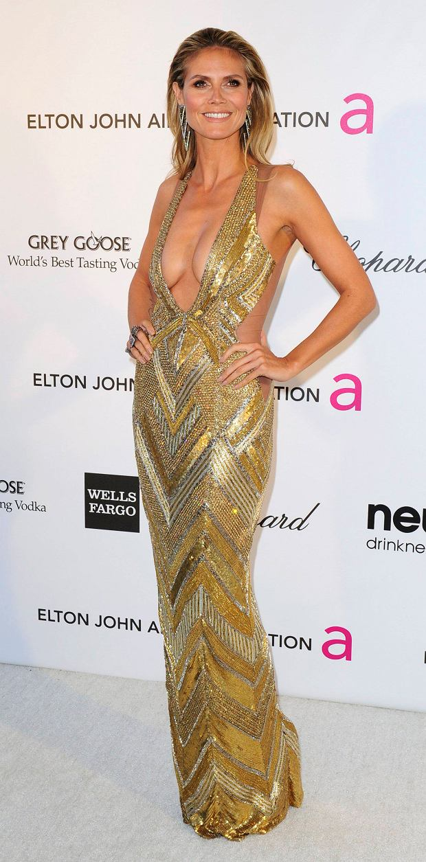 Supermodel Heidi Klum arrives at the 2013 Elton John AIDS Foundation Oscar Party in West Hollywood, California, February 24, 2013.  REUTERS/Gus Ruelas (UNITED STATES TAGS:ENTERTAINMENT) (OSCARS-PARTIES)