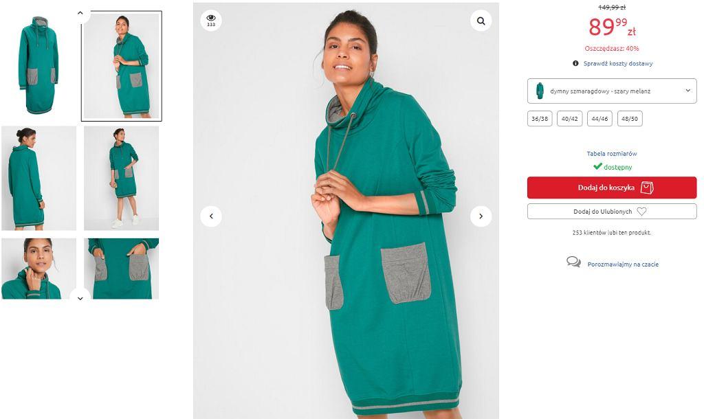 zielona sukienka dresowa