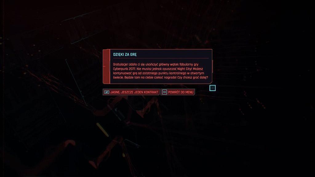 Plansza końcowa Cyberpunk 2077