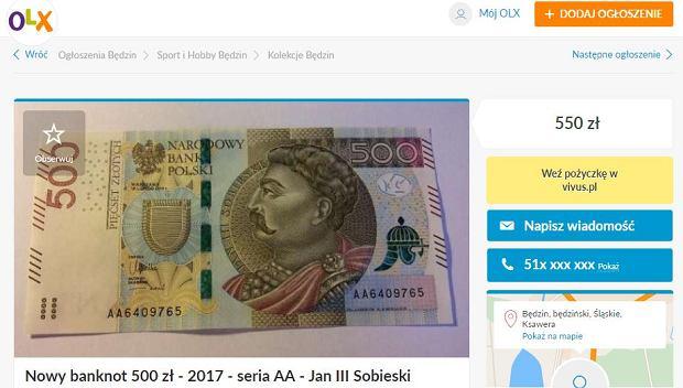Oferta sprzedaży banknotu 500 zł