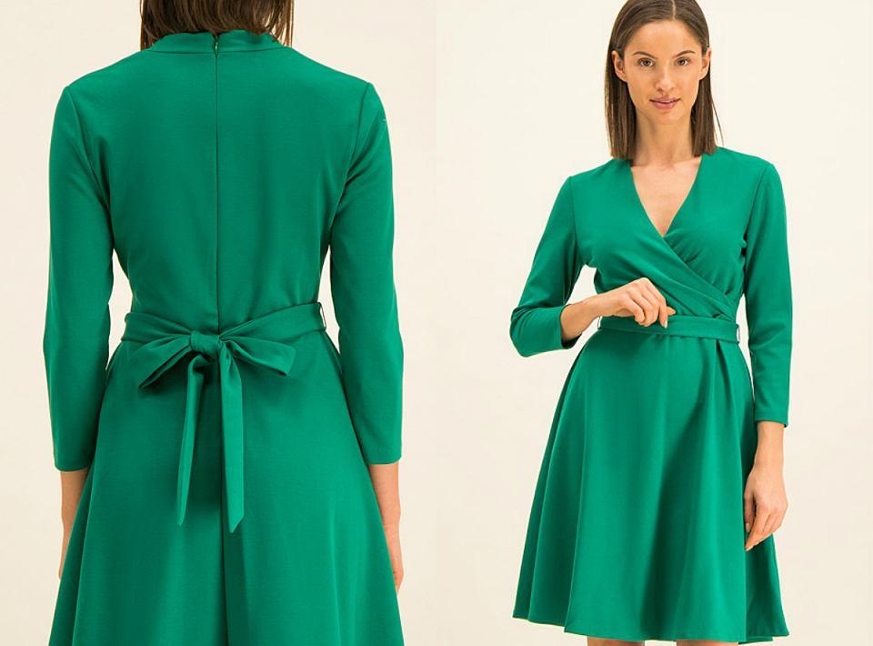 Rozkloszowana sukienka z wiązaniem z tyłu