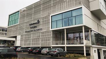 Budynek firmy produkującej szczepionkę AstraZeneca w Belgii