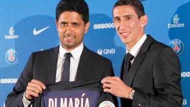 Angel di Maria i szef PSG Nasser Al-Khelaifi (z lewej)