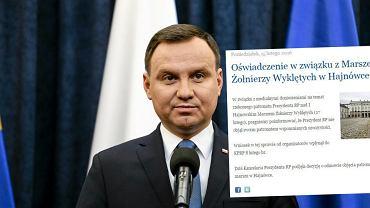 Kancelaria Prezydenta nie obejmie patronatem imprezy ONR