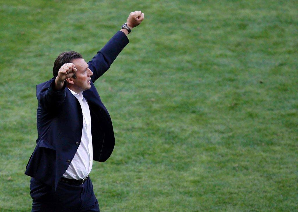 Triumfujący trener Belgów Marc Wilmots