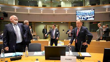 18.09.2018, Bruksela, Frans Timmermans i Konrad Szymański.