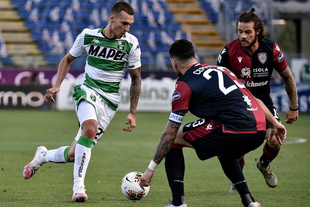 Były piłkarz Lechii Gdańsk Lukas Haraslin już w barwach Sassuolo (w meczu z Cagliari)
