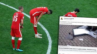 Mecz Polska - Szwecja. Kibic wyrzucił telewizor przez okno