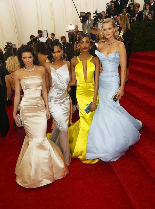 Celebrity arrivals at the 2014 Costume Institute Benefit Gala celebrating the opening of  Charles James: Beyond Fashion and the new Anna Wintour Costume Center. The event took place at the Metropolitan Museum of Art in NYC.  Pictured: Kendall Jenner,Toni Garrn, Chanel Iman and Jourdan Dunn