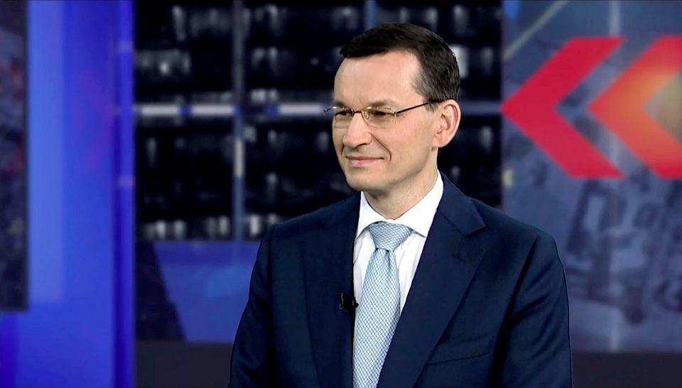 Premier Mateusz Morawiecki podczas wywiadu w TV Republika