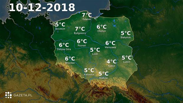 Mapa temperatury 10.12.2018r.