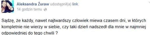 Komentarz na profilu Oli Żuraw