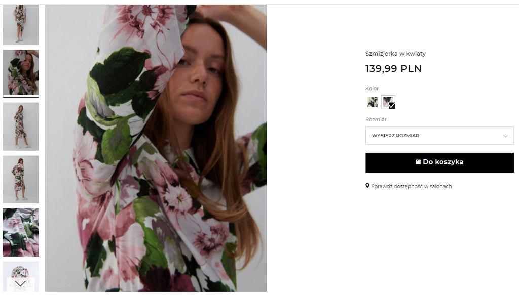 Sukienka w kwiaty kopertowa Reserved