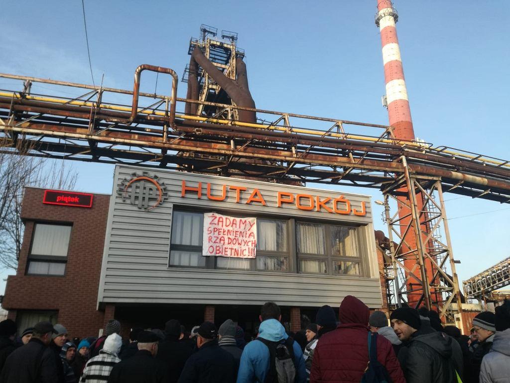 Ruda Śląska, protest pracowników Huty Pokój