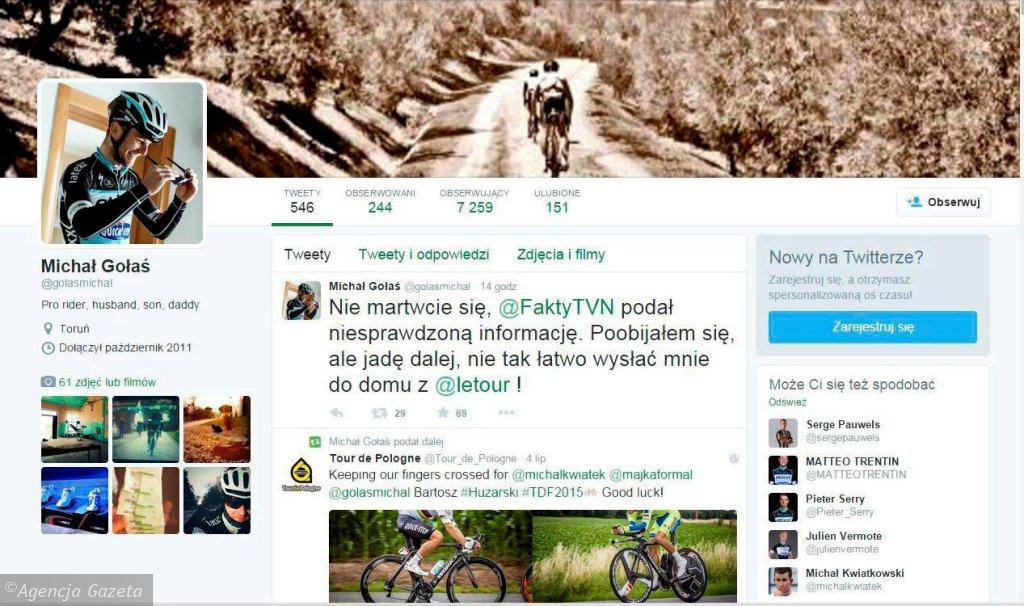 Tweet Michała Gołasia w sprawie kraksy na TdF