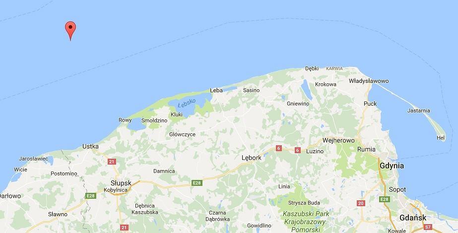 Ławica Słupska znajduje się 25 mil morskich od brzegu na północ od Ustki