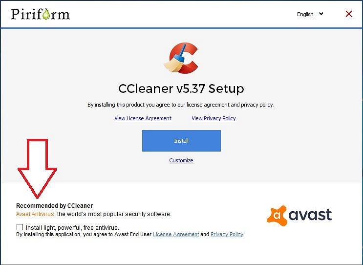 Rekomendacja Avast w instalatorze CCleaner