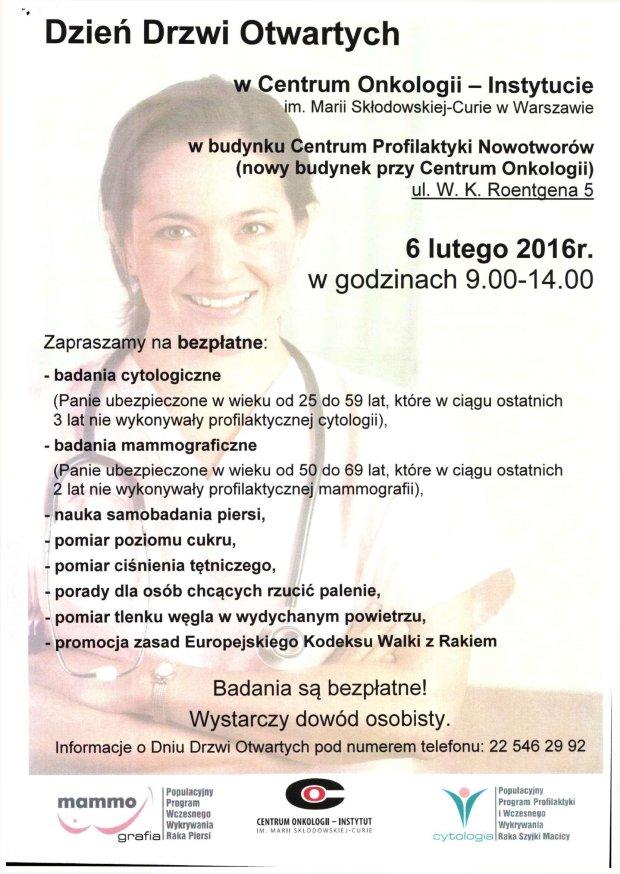 Dzień Drzwi Otwartych w Centrum Onkologii - 6 lutego 2016r.