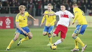 Karol Linetty w meczu Polska - Szwecja drużyn U-21