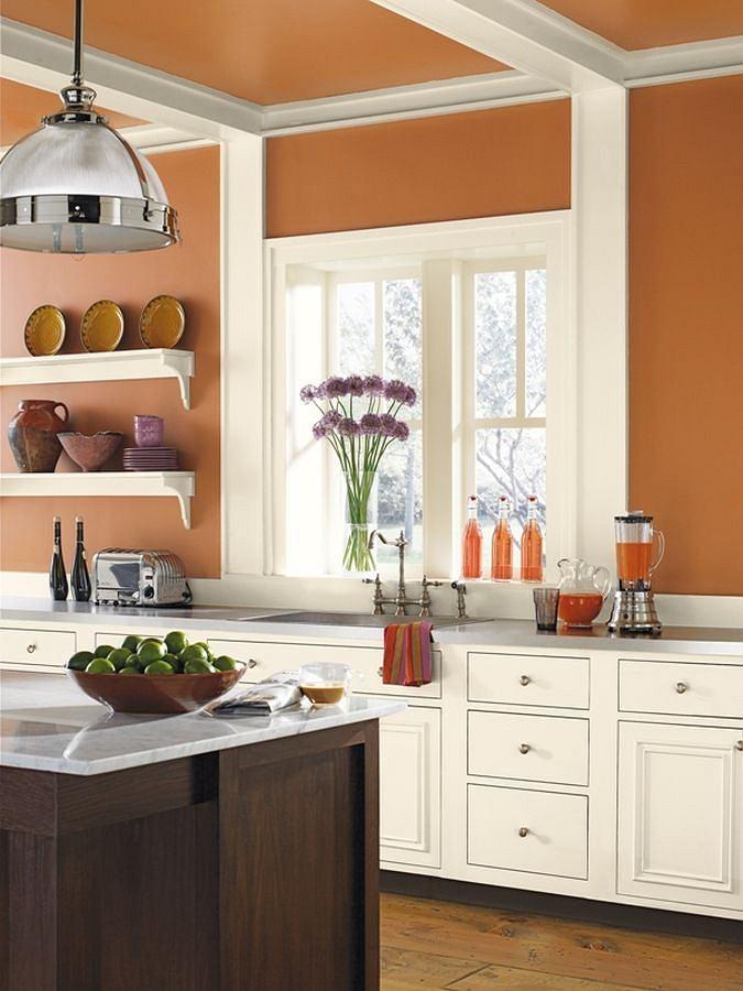 Kolory w kuchni: ceglany odcień ścian