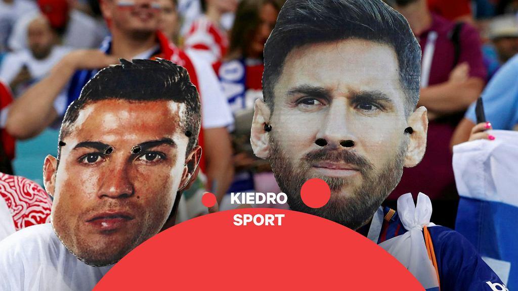 Podobizny Messiego i Ronaldo na meczu mistrzostw świata w Rosji