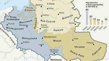 Powierzchnia Rzeczypospolitej Obojga Narodów: 815 tys. km kw. w 1569 r., 865 tys. km kw. w 1580 r., 990 km kw. w 1634 r., 733 tys. km kw. w 1771 r. (wg 'Historia Polski w liczbach. Ludność, terytorium', GUS, Warszawa 1994 r.)