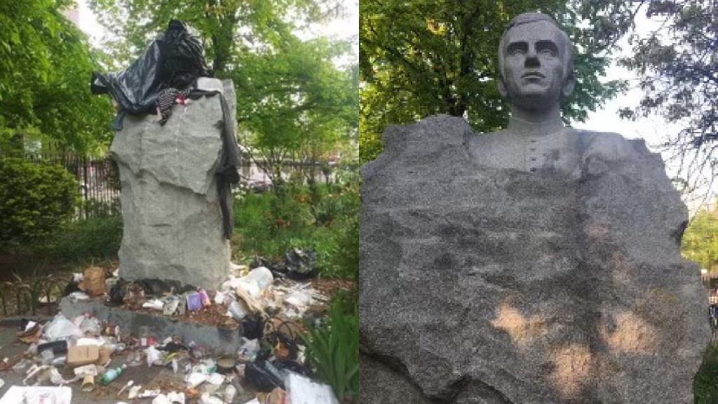 Zdewastowany pomnik Popiełuszki