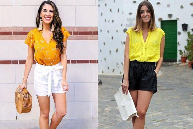 Żółta bluzka i eleganckie szorty, fot. www.instagram.com/naomi.noel/, es.trendtation.com [pinterest.com]
