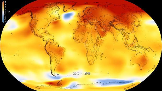 Anomalie temperatury powierzchni Ziemi w latach 2014-2018. Kolor czerwony oznacza temperatury wyższe niż przeciętnie