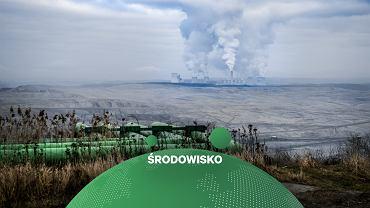 Widok na kopalnię odkrywkową węgla brunatnego i Elektrownię Turów należącą do PGE.
