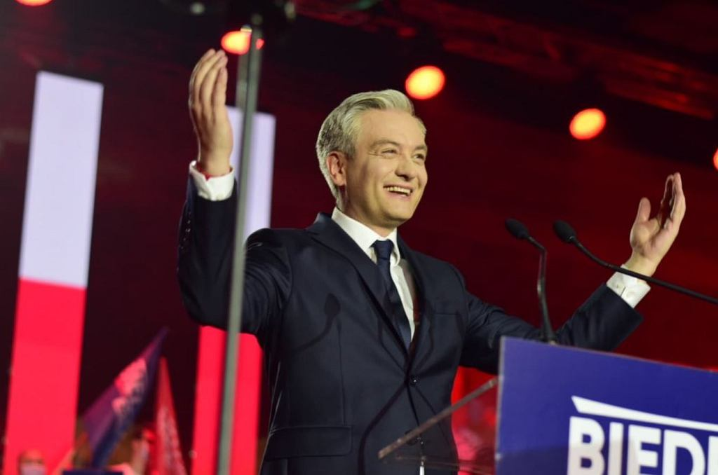 Robert Biedroń na konwencji w Warszawie