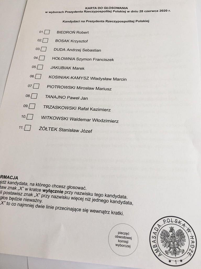 Karta do głosowania wysyłana przez konsulat w Hadze. Karcie brakuje pieczęci obwodowej komisji wyborczej
