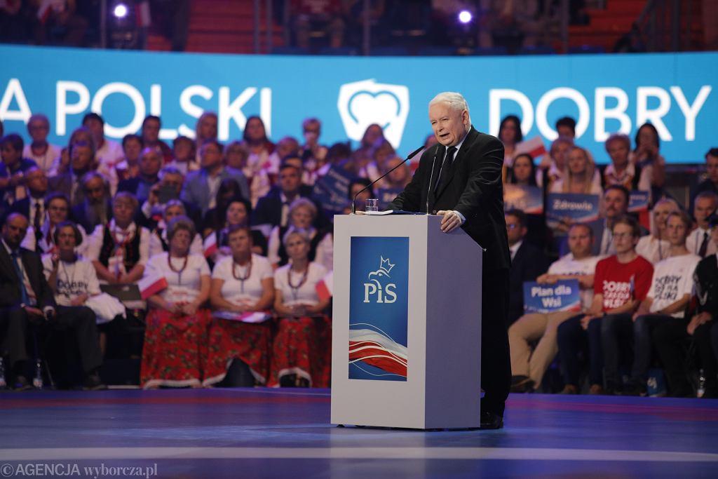 Jarosław Kaczyński podczas konwencji wyborczej PiS w Lublinie, 7 września 2019