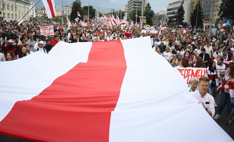 06.09.2020 Białoruś, Mińsk. Protest opozycji.